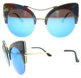 Lunettes de soleil Tr90 faites sur commande de Sunglass de lunettes de soleil femelles de plot réflectorisé