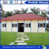 Casa modular prefabricada de la venta 2017 del doble de la azotea caliente de la cuesta de la estructura de acero ligera con el panel de emparedado
