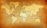 UV Ddesign карты мира Classicial напечатанное на панели стены для живущий украшения комнаты