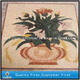 Plancher en pierre mélangé de médaillon de mosaïque de marbre et de travertin pour la décoration à la maison