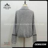 Текстурированный Turtleneck свитер пуловера Melange Knit свободно