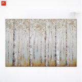 Pintura a óleo Handmade do retrato da parede das florestas da árvore de vidoeiro
