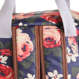 Estilo coreano Floral Waterproof Notebook PVC Mochila Canvas Bolsa Escola