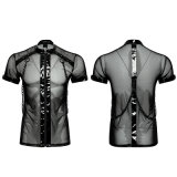 T-465 Punk Minimalist Dense Mesh Small Stand Collar Cross Chain T-Shirt