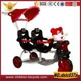 Triciclo del bebé del triciclo/dos asientos de los gemelos de los niños con el pabellón