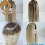 Toupee de couleur d'Ombre pour des femmes mono avec l'unité centrale autour de la partie de cheveu