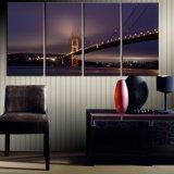 La lona del Multi-Panel imprime las ideas de la decoración de la pared, 5 pedazos de la lona del paisaje urbano de la pintura