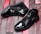Les chaussures noires d'hommes de cuir verni d'unité centrale avec lacent vers le haut (YN-25)