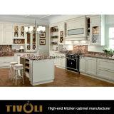 Le unità bianche e nere di disegno dell'onda della cucina con la parte superiore operata del banco progettano Tivo-0206h per il cliente