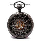 Reloj de bolsillo de oro con rojo de la piedra preciosa para damas