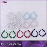 中国の製造者の方法ルビーCZの白い金のめっきされたイヤリング