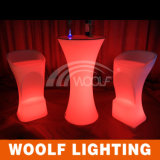 LEDの屋外党円形の低い小テーブルおよび椅子