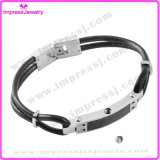 Unisexarmband-magnetisches Edelstahl-Netzkabel-Armband des echten Leder-Ijb5030 (IJB5030)