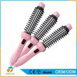 2 en 1 peine revestido de cerámica rápido del balanceo del pelo de las cerdas de las olas de calor que endereza el cepillo