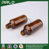 bottiglia di vetro dell'olio essenziale dell'ambra 50ml con la vite di metallo dell'oro sulla protezione