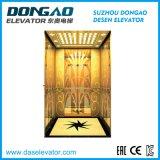 Specchio dorato di lusso che incide Steell inossidabile per il piccolo elevatore del passeggero della stanza della macchina