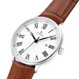 Form-Edelstahl-Dame-Uhr mit echtes Leder-Band-und Schweizer-Qualität 71280