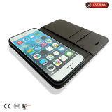 Raccoglitore della cassa del telefono del tessuto di PU+Glitter con il raccoglitore di iPhone del basamento del telefono