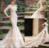 Champagne 신부 웨딩 드레스 긴 소매 인어 결혼 예복 Lb897