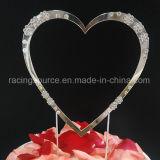 Solo corazón brillante de los primeros de la torta de boda de la decoración de la torta del corazón de Diamantee