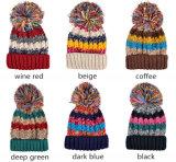 여자의 키 큰 공 혼합 색깔을%s 가진 Custome에 의하여 뜨개질을 하는 Snapback 베레모 모자