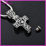 Houder van de As van de Halsband van de Juwelen van de Urn van de Herinnering van het Roestvrij staal van de Urn van de Halsband van de crematie de Dwars Keltische Poot Gegraveerde Herdenkings (IJD9786)