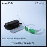 Пропускаемость 37% видимого света защитных стекол лазера Goggles/безопасности лазера для красных лазеров лазеров 635nm + диодов 905nm /980nm с белой рамкой 52