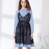 Dame-Form-Shirt-Spitze-Beleg-Kleid-falsches zwei Hemd-Kleid