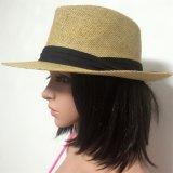 100% del sombrero de paja, estilo Fedora de manera con la venda o la decoración de metal para los hombres