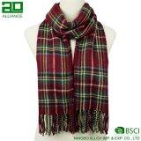 冬の標準的な編まれた格子縞のスカーフ