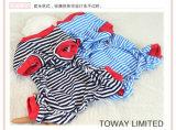 Le modèle personnalisé barre des vêtements de crabot de salopette d'animal familier de marin