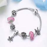 Moda Dazzling Daisy Pendant Clear CZ Pink Glass Beads Braceletes e Bangles para Mulheres DIY Jewelry