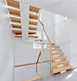 Glass Railingの現代的なSolid Wood Used Floating Staircase Design