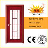 Portas de madeira francesas novas com projeto de madeira da grade (SC-W026)