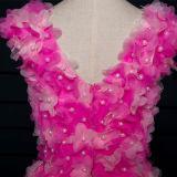 O baile de finalistas longo de Tulle dos grânulos cor-de-rosa das flores veste-se (TM-MS023)