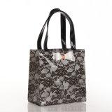 Dos tallas ennegrecen el bolso floral de los bolsos de compras del cordón de la manera (T043)