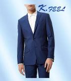 2016最も新しく明るく青いカスタム人のウールは切口のスーツを細くする