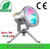 IP68 9W LED de luz bajo el agua en acero inoxidable