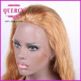 Peruca dianteira brasileira do cabelo reto da peruca do laço da cor loura longa