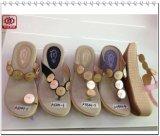 Новая женщина конструкции обувает сандалии высокой пятки