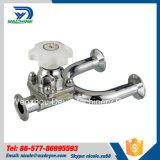 Válvula de diafragma manual de tres vías sanitaria del acero inoxidable (DY-V134)