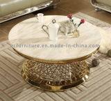 미러 스테인리스 프레임 둥근 커피용 탁자