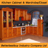 L gabinete de cozinha do estilo com a bancada da pedra de quartzo