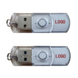 Movimentação plástica transparente 8GB do flash do USB da movimentação 1GB da pena do USB do giro