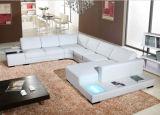 Uの形ベージュ色カラーの大きい革部門別の角のソファー