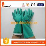 Gant DHL445 de sûreté rayé par bande verte d'Industial de nitriles
