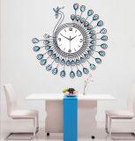 Специальные часы металла стены формы с кристаллом для домашнего украшения