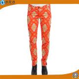 O algodão do estiramento da forma das mulheres do OEM arfa calças ocasionais da impressão