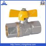 Forjó largo extremos de la válvula de bola de latón con mango de aluminio (YD-1022)
