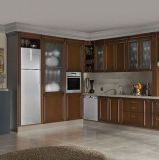 Gabinete de cozinha moderno personalizado da madeira contínua de Wallnut do bordo do carvalho do estilo (KC-4150)